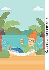 Woman chilling in hammock. - A woman chilling in hammock on ...