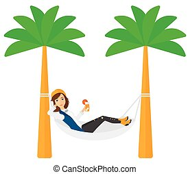 A woman chilling in hammock with a cocktail in a hand vector flat design illustration isolated on white background. Horizontal layout.
