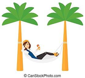 Woman chilling in hammock. - A woman chilling in hammock ...
