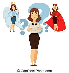 Woman choice between good and behavior,, people decide - ...