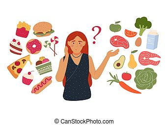 Woman chooses between fast food and healthy live food