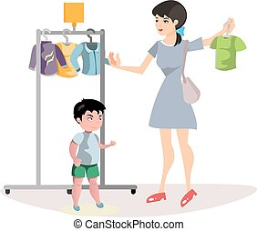 Woman chooses clothes for her son