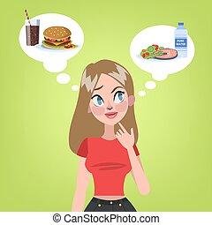 Woman choosing between healthy food and hamburger