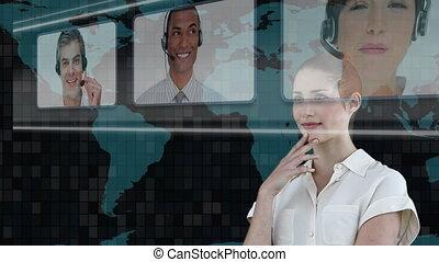 Woman choosing call center agents