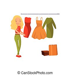 Woman choosing dress during shopping, girl buying clothing in a mall cartoon vector illustration