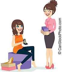 Woman Choosing Shoes - Beautiful brunette woman choosing a...