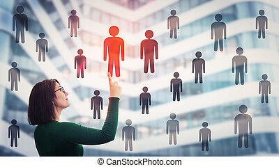 Woman choosing staff accept a different person from the crowd. Employee selection group leadership. Workforce recruitment and employment concept, perfect candidate for job. Human resources management.