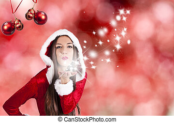 woman christmas background, new year
