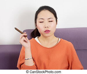 Woman cigar
