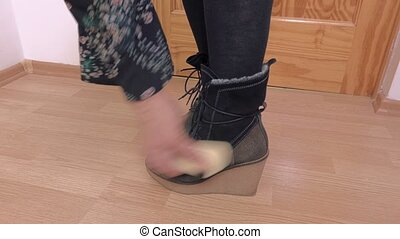 Woman clean boots