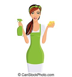 Woman cleaners portrait - Young woman housewife cleaning ...