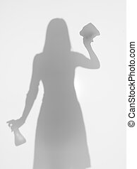 woman cleaning a window, silhouette