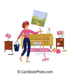 Woman cleaning dirty living room with a mop and a bucket of water. Floor washing. Spring cleanong concept. Flat vector illustration.