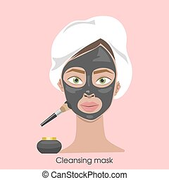 Woman cleaning face.