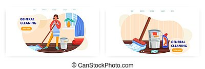 Woman cleaning floor at home. House cleaning supplies, mop, bucket, detergent. Clean home service concept illustration. Vector web site design template