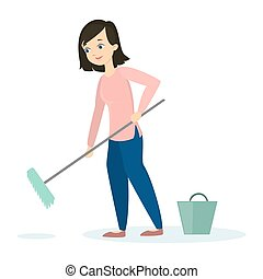 Woman cleaning floor.