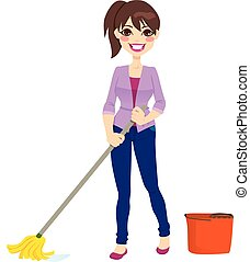 Woman doing chores cleaning the floor with mop and mop bucket