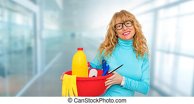 woman cleaning in the office with cleansing products