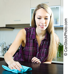 Woman cleaning kitchen table