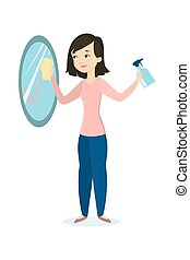 Woman cleaning mirror.