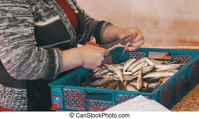 Woman Cleans and Cuts Fresh Fish in Fish Market