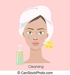 Woman cleansing face.
