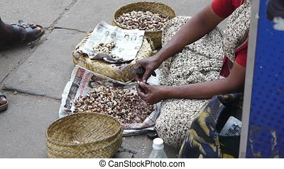 Woman clears the cashew nuts on the street