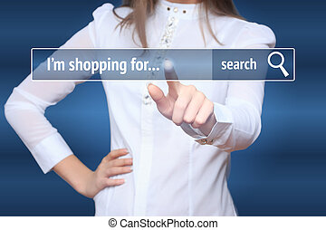 Woman click on virtual e-shop button. E-commerce and B2C concept. i shopping for