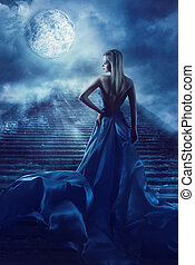 Woman Climb Up Stairs to Fantasy Moon Heaven, Fairy Girl in...