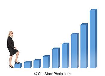 Woman climbing career ladder