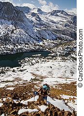 Woman Climbing Chocolate Peak