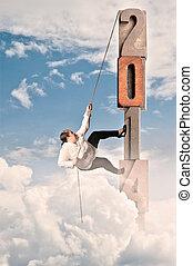 woman climbing on 2014 word - plump woman climbing on 2014...