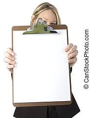 Beautiful business woman holding clipboard with blank white paper. Shot in studio over white.