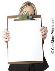 Woman Clipboard - Beautiful business woman holding clipboard...
