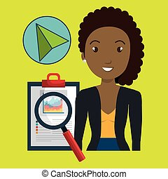 woman clipboard search cursor vector illustration eps 10