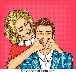 Woman close mouth to the her man - Vector pop art...
