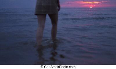 Woman close up walking water - Amazing dark scenic vivid...