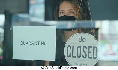 Woman closes her cafe because of the quarantine