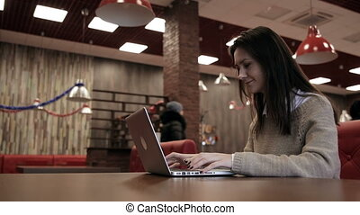 Woman closes the laptop and goes out - Businesswoman closes...