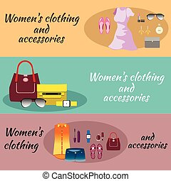 Woman Clothes Banner Set for Shopping