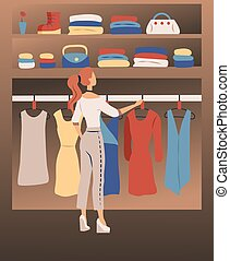 Woman Clothes Concept. Set Of Fashion Collection Of Woman Wardrobe. Woman Is Choosing Clothes In Wardrobe. Female Character Is Trying to Decide What To Wear. Caretoon Flat Style. Vector Illustration