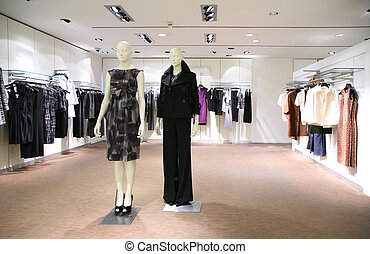 woman clothes in shop