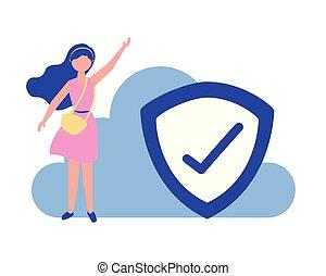 woman cloud computing shield protection checkmark