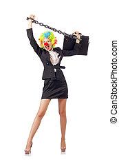 Woman clown in business suit