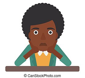 An african-american disappointed young woman sitting at the table and clutching her head vector flat design illustration isolated on white background.