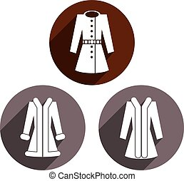 Woman coats vector icon set.