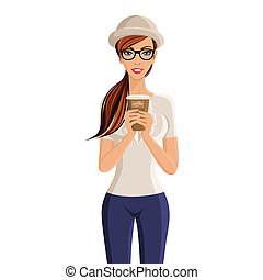 Woman coffee cup portrait