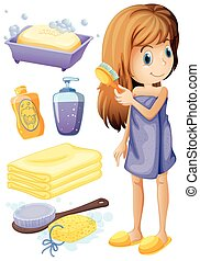 Woman combing hair and bathroom set illustration