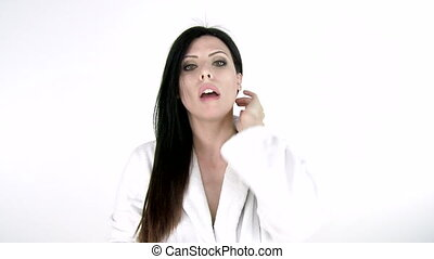 Woman combing long hair