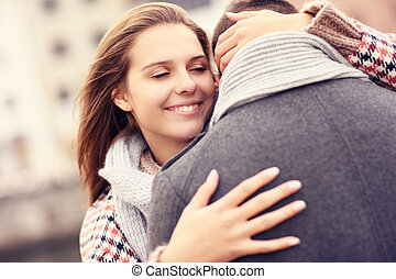 Woman comforting a man